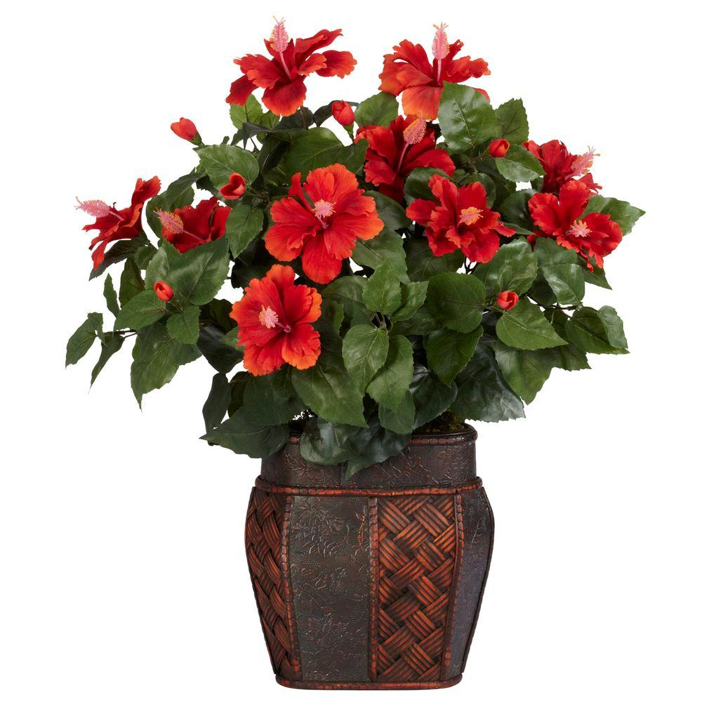 Nearly Natural 24 in. H Red Hibiscus with Vase Silk Plant