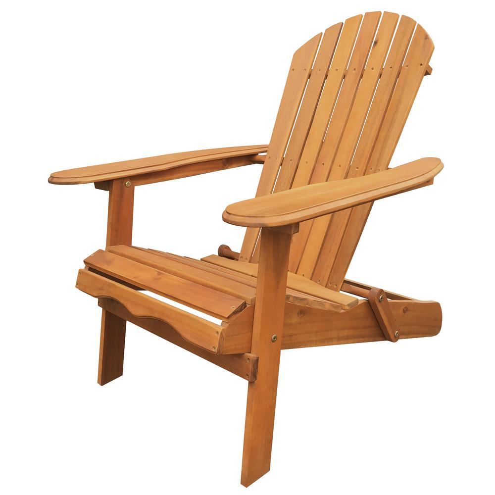 Leigh Country Natural Folding Adirondack Chair  sc 1 st  The Home Depot : adirondock chairs - Cheerinfomania.Com