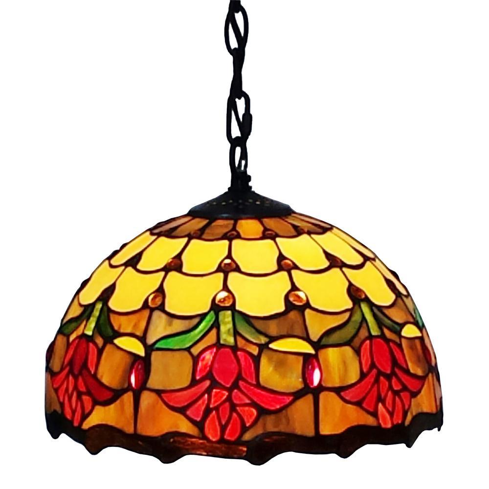 1-Light Multicolored Tiffany Style Tulip Design Hanging Pendant Lamp