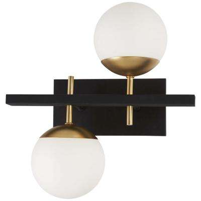 Alluria 2 Light Weathered Black With Autumn Gold Accents Sconce