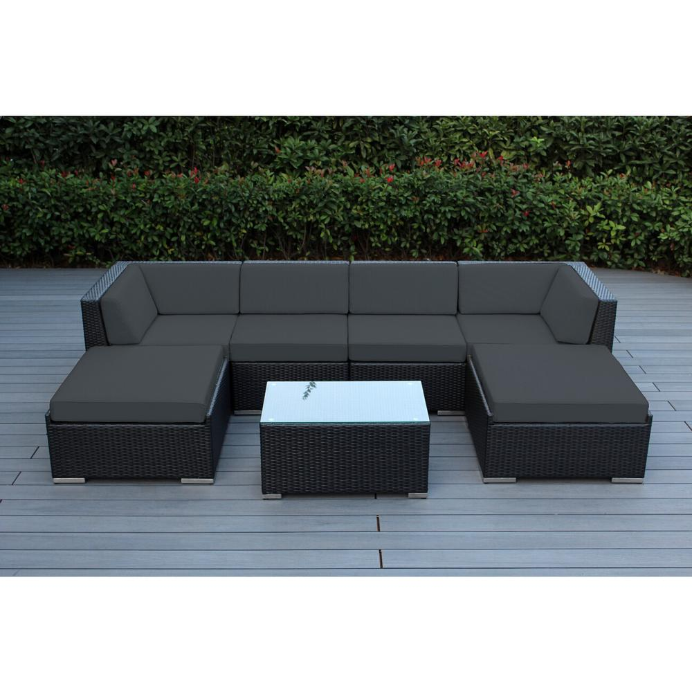 Ohana Depot Ohana Black 7 Piece Wicker Patio Seating Set With