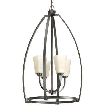 Ridge Collection 4 Light Espresso Foyer Pendant With Etched Watermarked  Glass