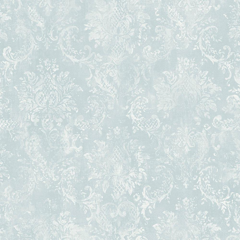 Norwall Norwall Canvas Damask Wallpaper, Aqua/ White