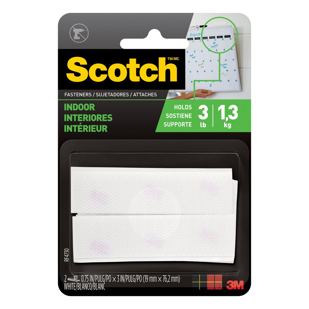 3M Scotch 3/4 in. x 3 in. White Indoor Fasteners (2 Sets-Pack)