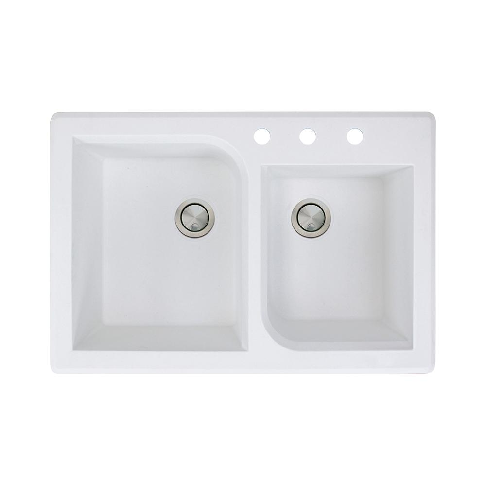 Transolid RTSS3322-01-CADE Radius 22-in x 33-in Granite Drop-in 4-Hole Single Bowl Sink White