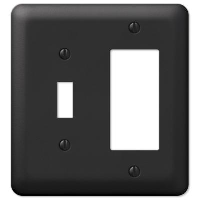 Declan 2 Gang 1-Toggle and 1-Rocker Steel Wall Plate - Black