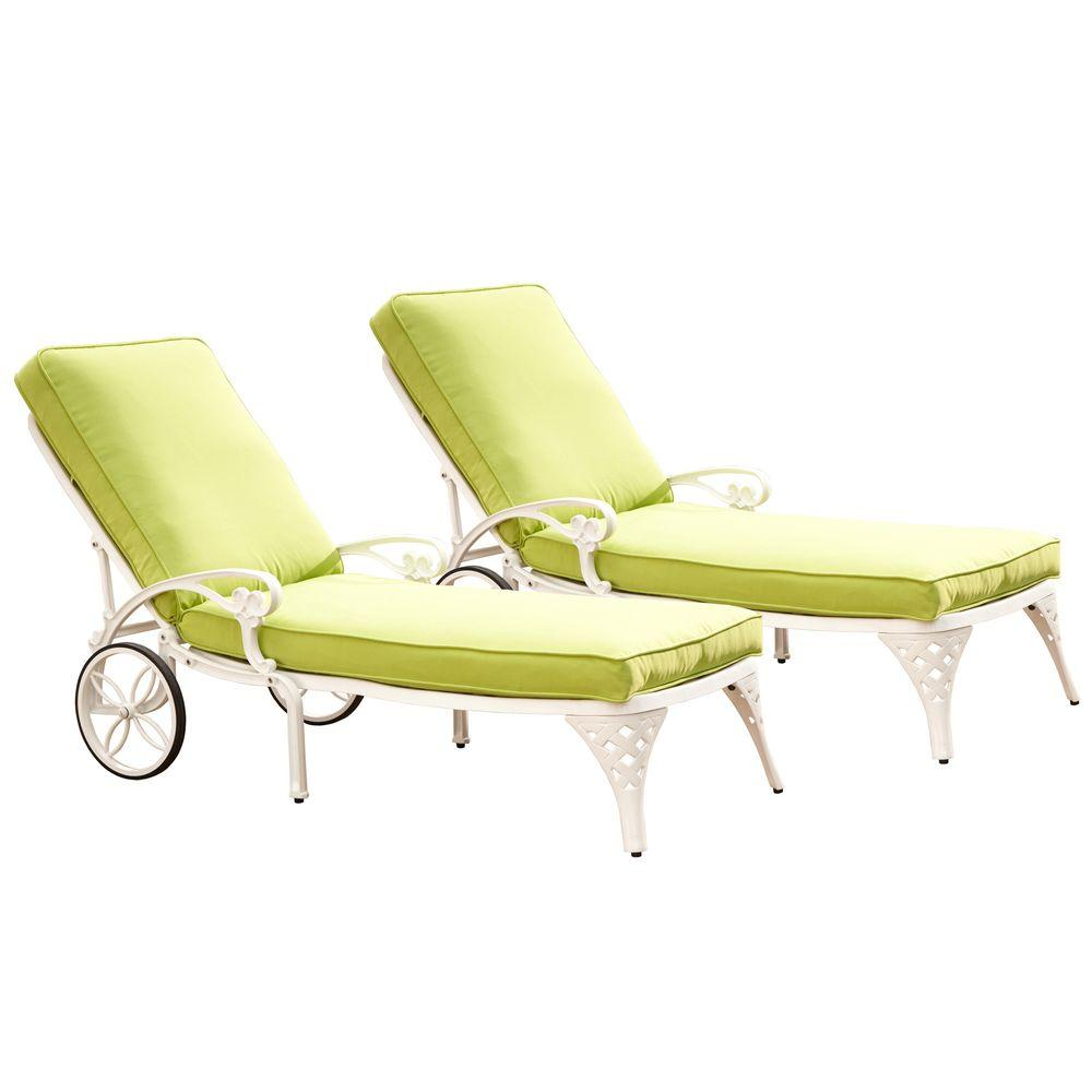 Biscayne White Patio Chaise Lounge With Green Apple Cushion (Set Of
