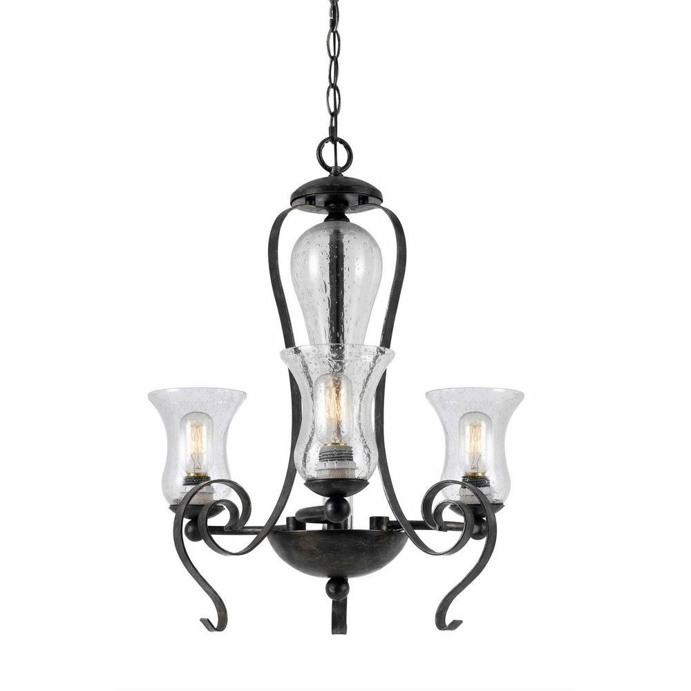CAL Lighting 3-Light Hardwire Ceiling Mount Tarnished Pewter Chandelier