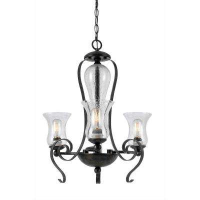 3-Light Hardwire Ceiling Mount Tarnished Pewter Chandelier