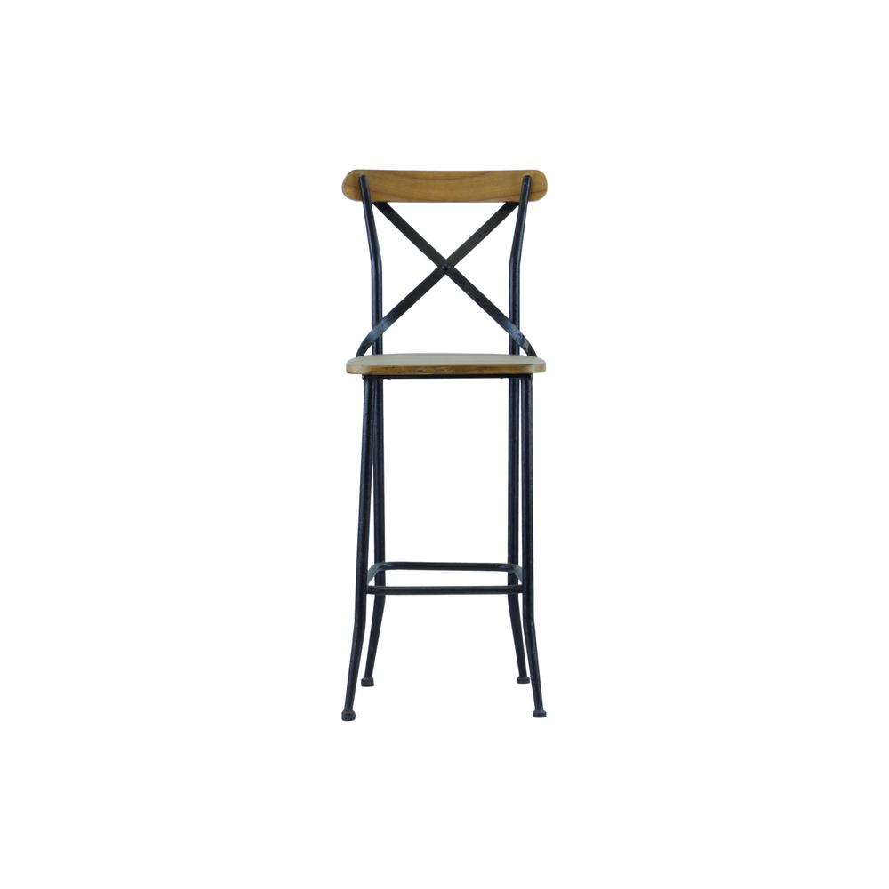 Industrial Reclaimed Wood X Bar Chair (Set of 2)