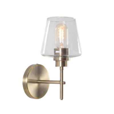 Dean 11 in. Antique Brass Sconce with Clear Glass Shade
