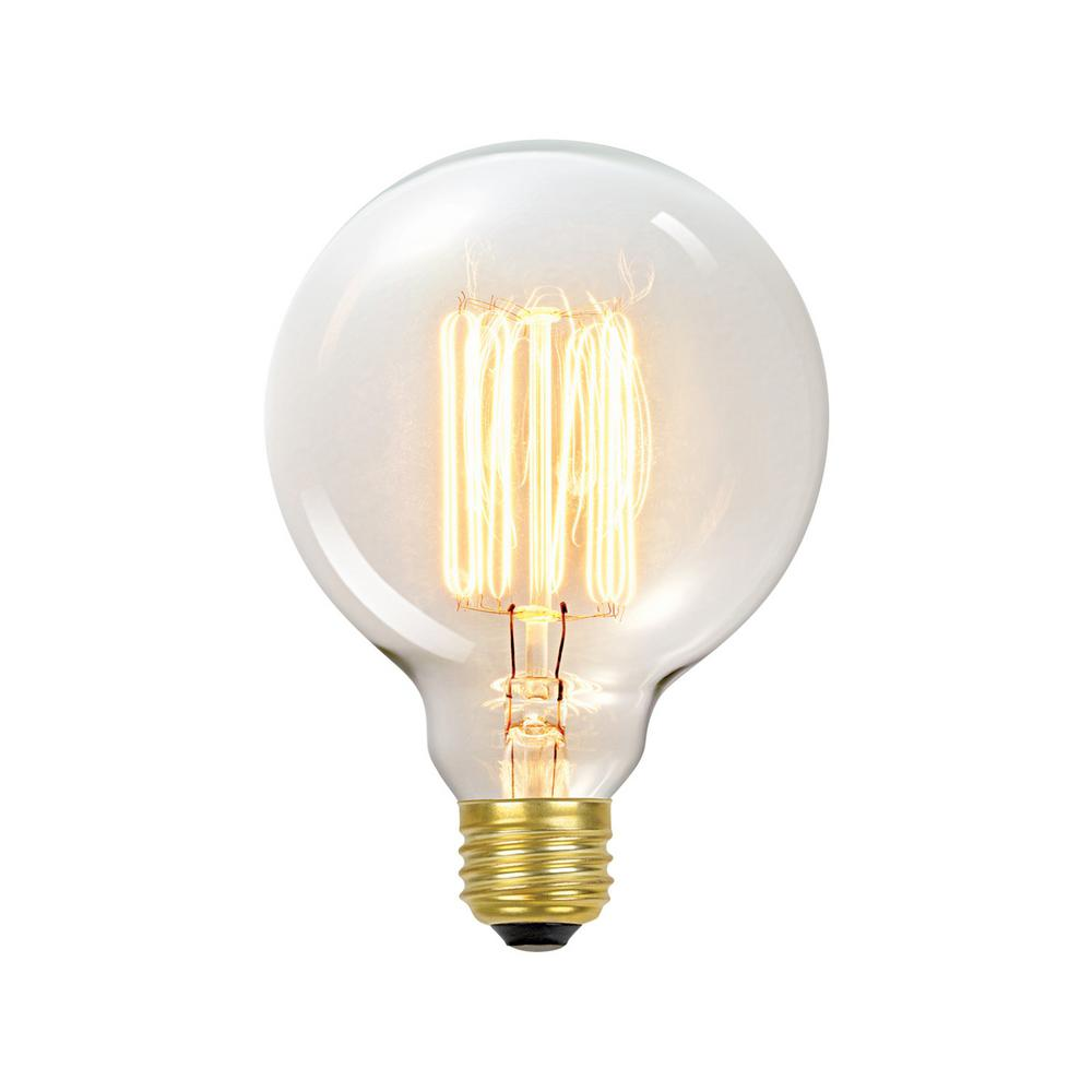 Globe Electric 60-Watt Incandescent G30 E26 Vintage Edison Vanity Tungsten Filament Light Bulb - Antique Edison