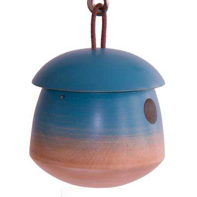 6 in. Blue Mango Wood Tumble Bird House