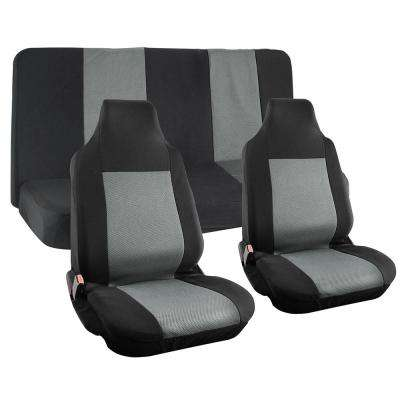 Polyester Seat Covers Set 26 in. L x 21 in. W x 48 in. H 4-Piece Seat Cover Set Integrated Bench Black and Gray