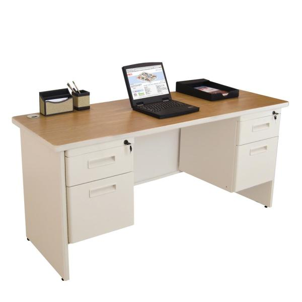 60 in. W x 24 in. D Oak Laminate and Putty  Double Pedestal Credenza