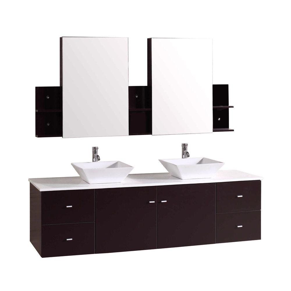 Double Vanity Espresso Stone Vanity Top White Mirror