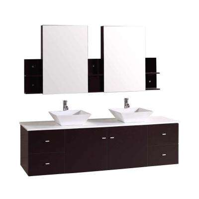Rachiel 72 in. Double Vanity in Espresso with Phoenix Stone Vanity Top in White and Mirror