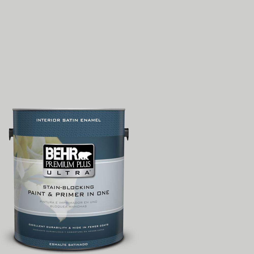 BEHR Premium Plus Ultra 1-gal. #PPL-64 Pewter Vase Satin Enamel Interior Paint