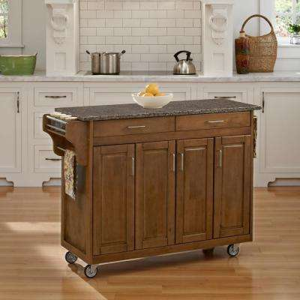 Create-a-Cart Warm Oak Kitchen Cart With Quartz Top