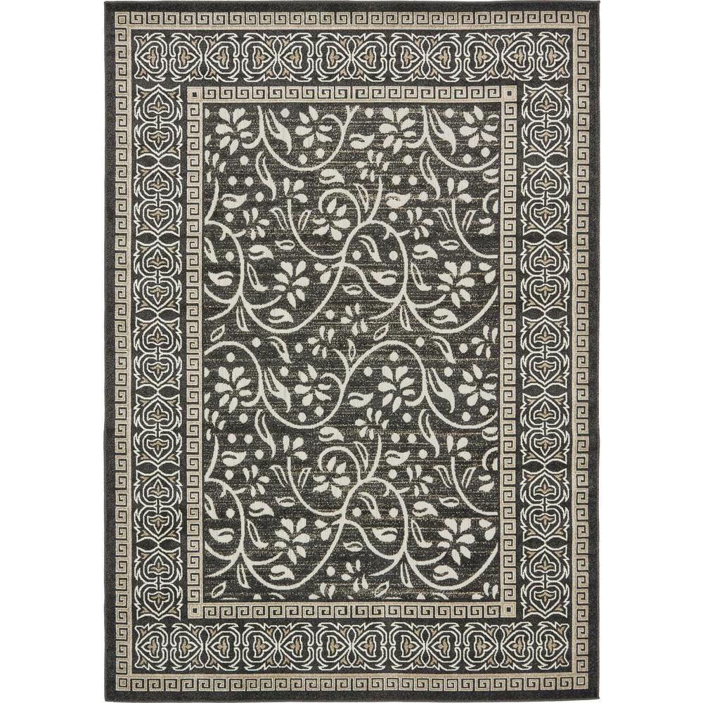 Outdoor Rug 7 X 10: Unique Loom Outdoor Botanical Black 7' X 10' Rug-3132434