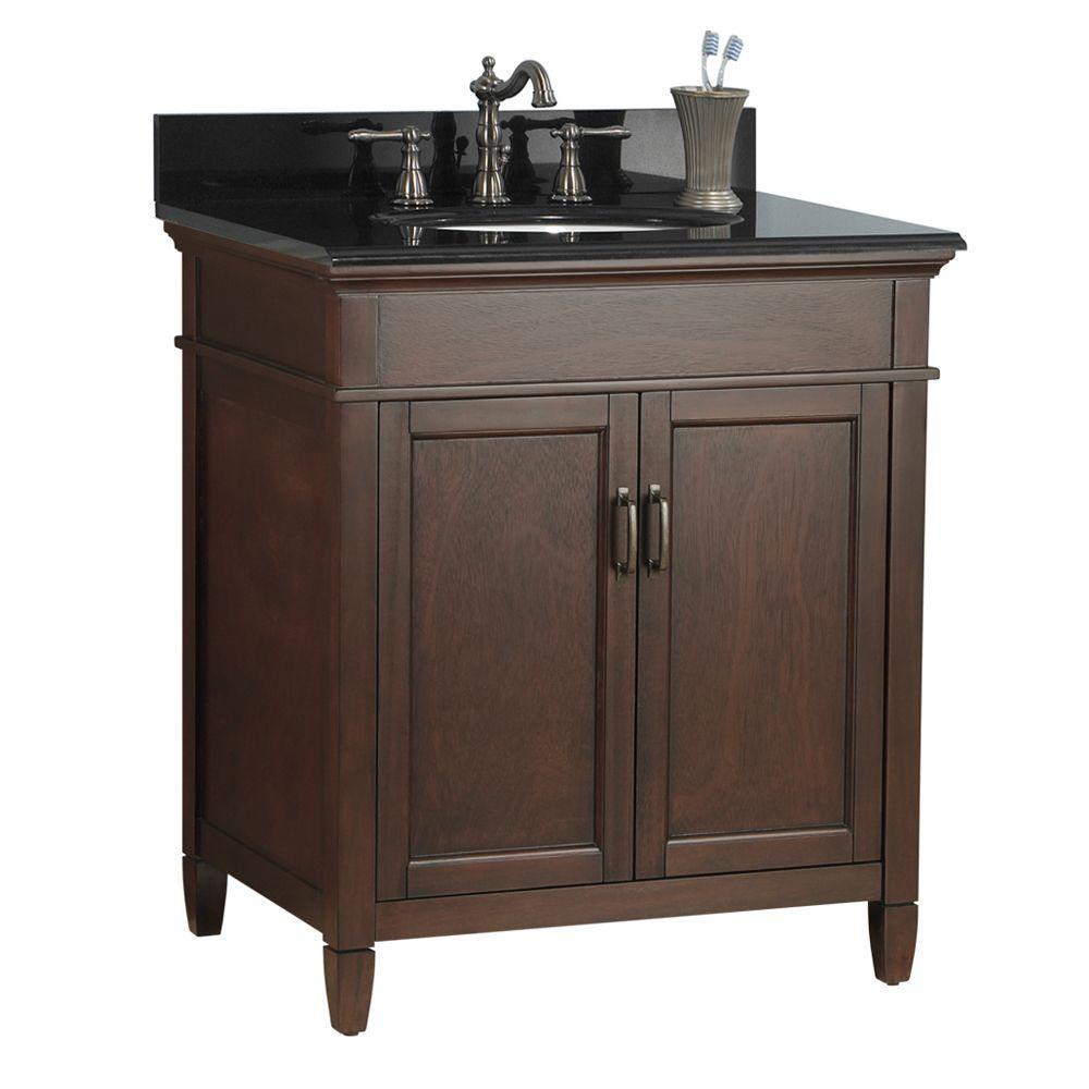 Ashburn 31 in. W x 22 in. D Bath Vanity in Mahogany with Granite Vanity Top in Black