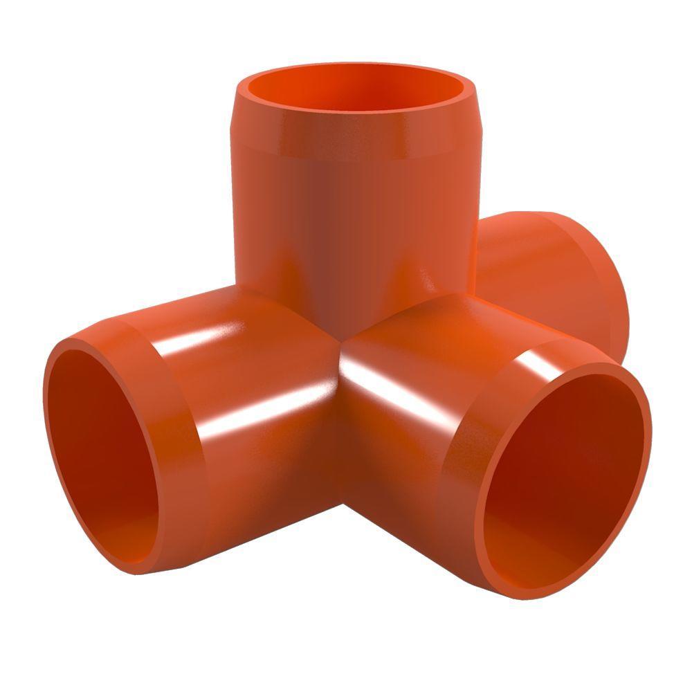 1 in. Furniture Grade PVC 4-Way Tee in Orange (4-Pack)