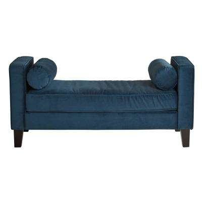 Azure Velvet Fabric Curves Bench with Solid Wood Legs