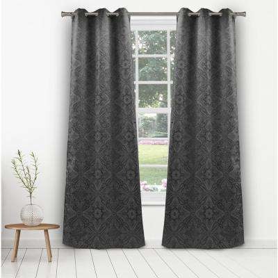 Courtney 36 in. W x 96 in. L Polyester Window Panel in Dark Grey