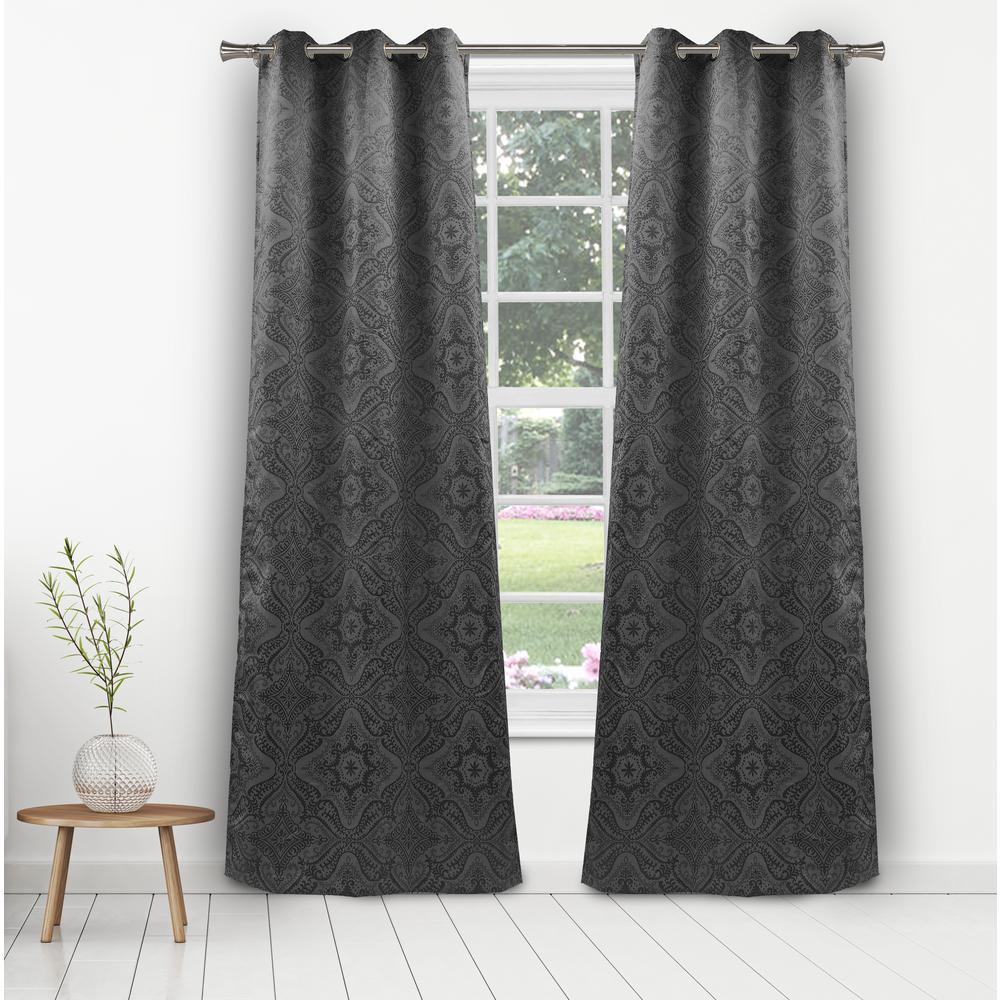 Courtney 36 in. W x 96 in. L Polyester Window Panel in Dark Grey
