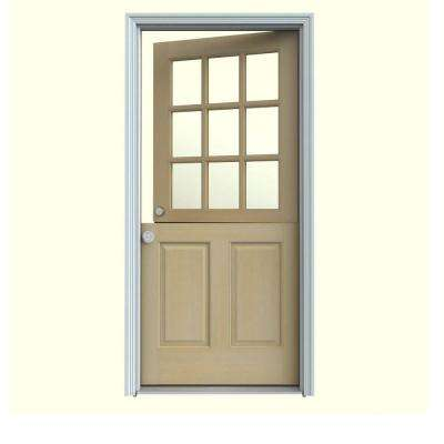 32 in. x 80 in. 9 Lite Unfinished Wood Prehung Right-Hand Inswing Dutch Back Door w/Primed AuraLast Jamb and Brickmold