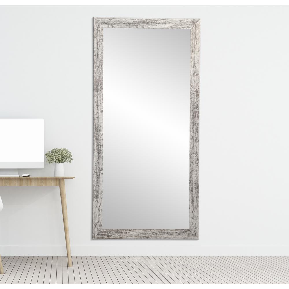 Medium Distressed White/Gray Composite Hooks Farmhouse Rustic Mirror (32 in. H X 66 in. W)