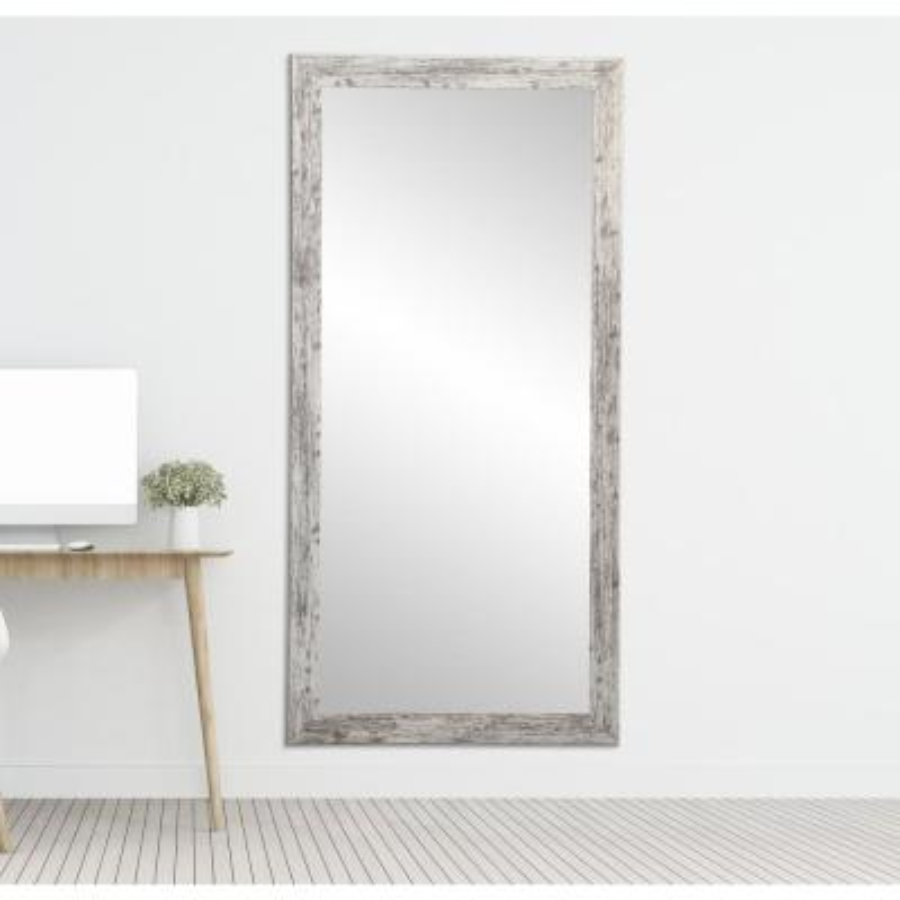 Distressed White Barnwood Full Length Floor Wall Mirror