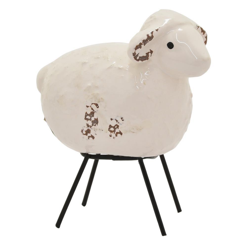 5 in. White Ceramic Sheep Tabletop