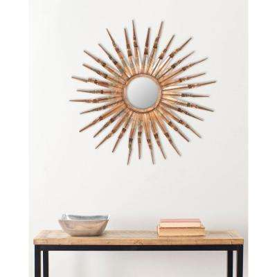 Sun 33.1 in. x 33.1 in. Iron and Glass Framed Mirror