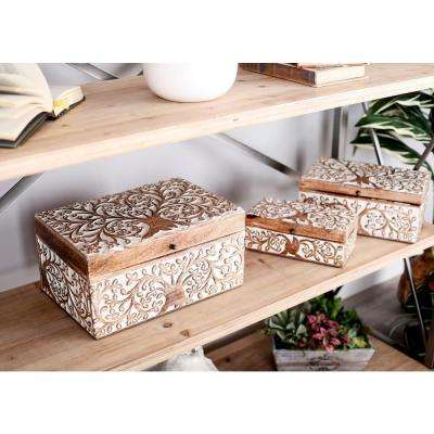 Rectangular Mango Wood Boxes with Lid and Botanical Scroll Carvings (Set of 3)