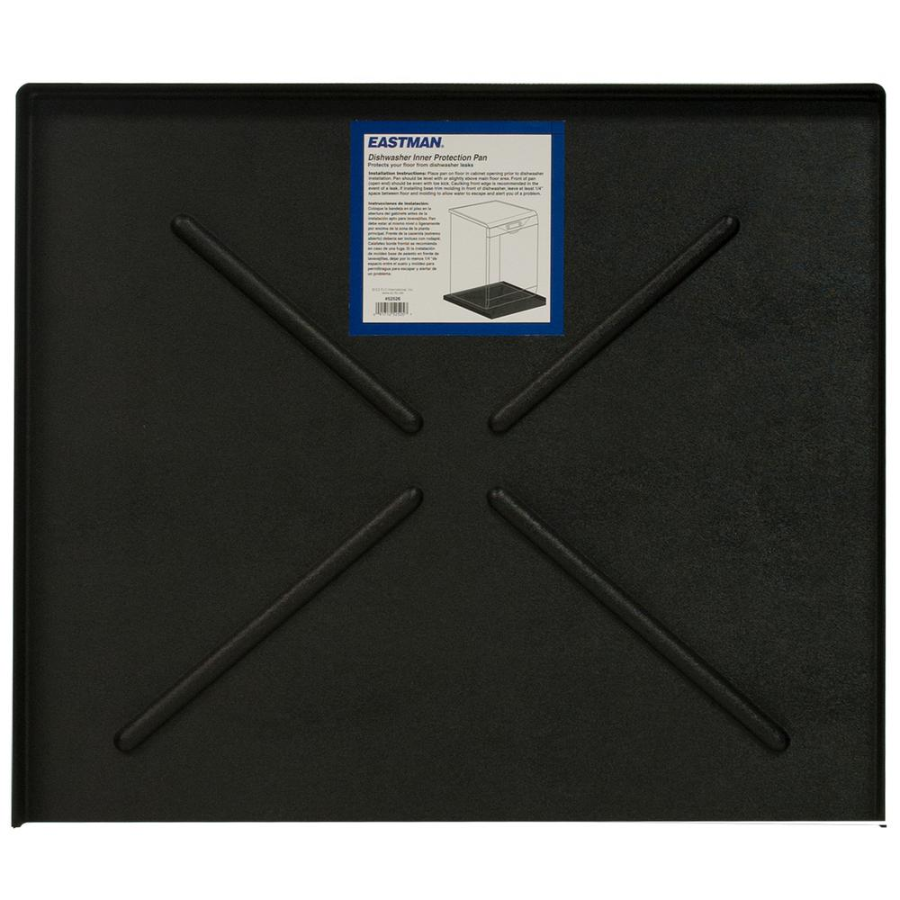 Everbilt 24.5 in. x 20.5 in. Black Dishwasher Pan Dishwasher Pan protects your floor and surrounding cabinets and walls from dishwasher leaks. A small dishwasher leak can go unnoticed and absorb into flooring, walls, and cabinets. The dishwasher pan brings the water to the front of the dishwasher so you can see there is a leak and fix it before the leak causes damage.