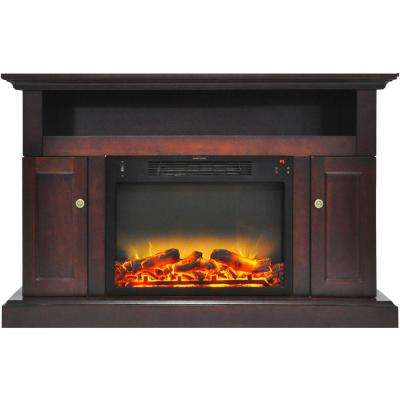 Sorrento Electric Fireplace with an Enhanced Log Display and 47 in. Entertainment Stand in Mahogany