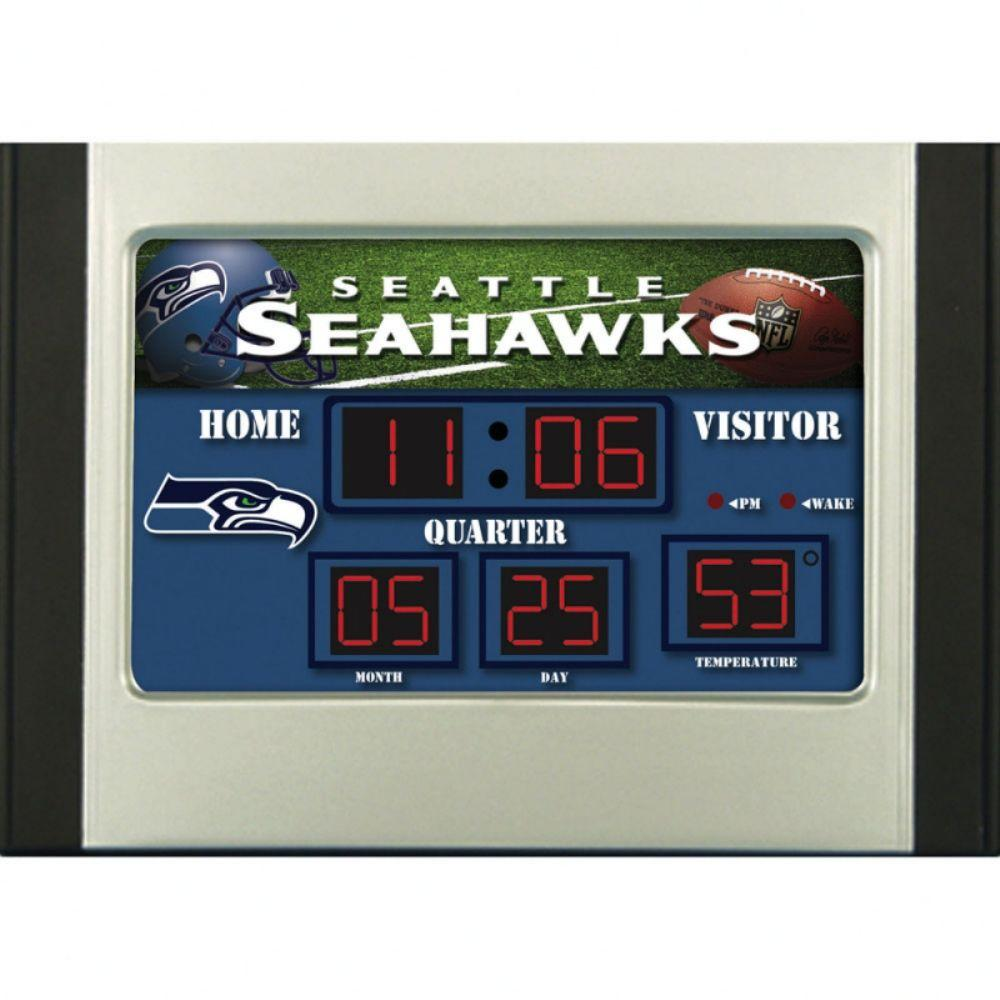 null Seattle Seahawks 6.5 in. x 9 in. Scoreboard Alarm Clock with Temperature