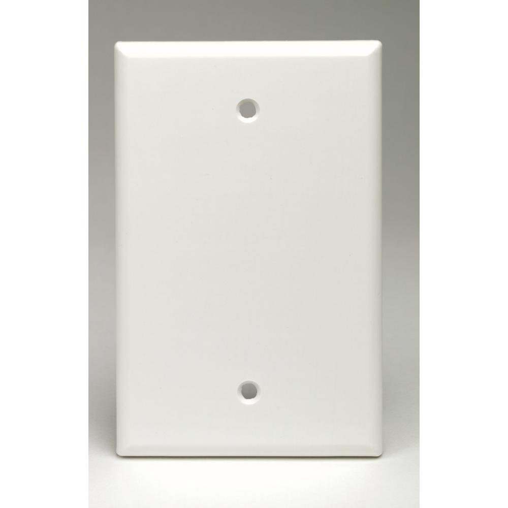 1-Gang No Device Blank Wallplate, Midway Size, Thermoset, Box Mount, White
