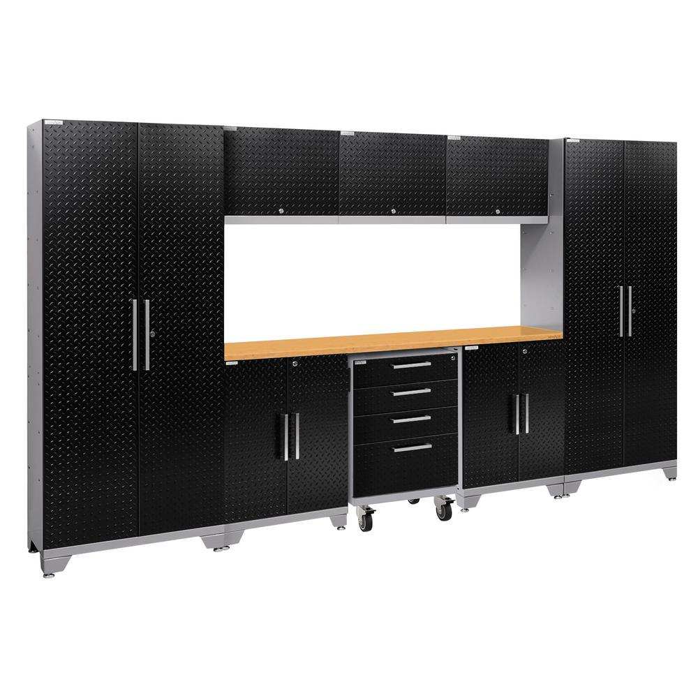 Performance 2.0 Diamond Plate 77.25 in. H x 132 in. W x 18 in. D Steel Garage Cabinet Set in Black (9-Piece)