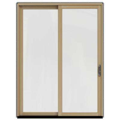 72 in. x 96 in. W-2500 Contemporary Silver Clad Wood Right-Hand Full Lite Sliding Patio Door w/Unfinished Interior