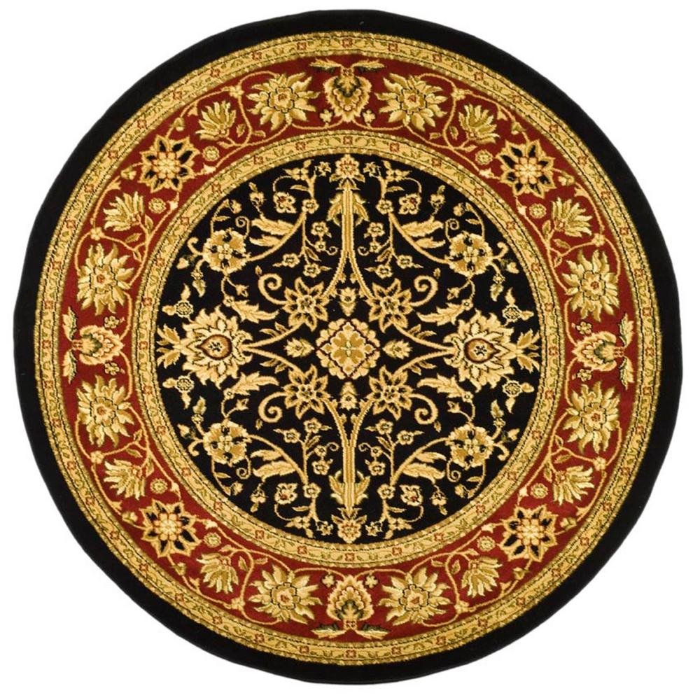 Lyndhurst Black/Red 8 ft. x 8 ft. Round Area Rug