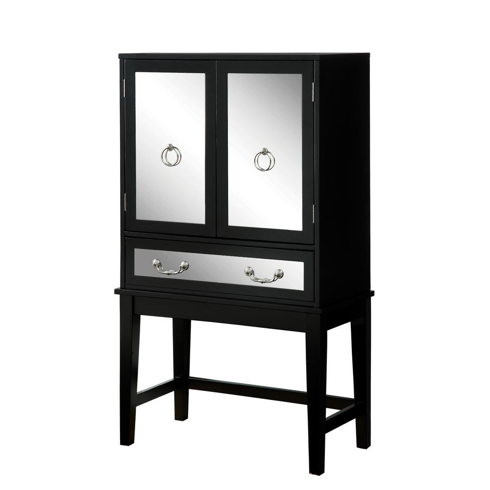 Decidous 6-Bottle Black Wine Cabinet