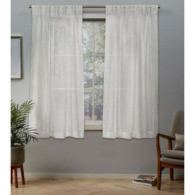 Belgian 30 in. W x 63 in. L Sheer Pinch Pleat Top Curtain Panel in Snowflake (2 Panels)