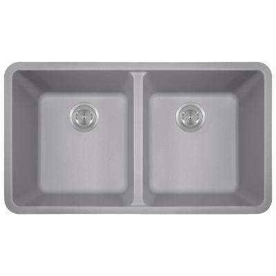 Undermount Granite Composite 32.5 in. 0-Hole Double Bowl Kitchen Sink in Silver
