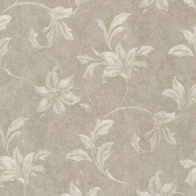 Palace Taupe Floral Scroll Wallpaper