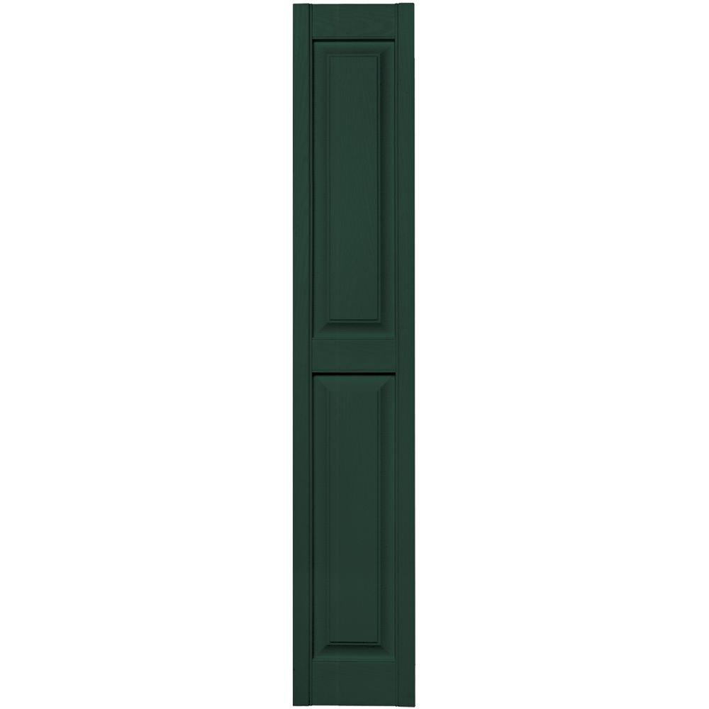 Builders Edge 12 in. x 67 in. Raised Panel Vinyl Exterior Shutters Pair in #122 Midnight Green