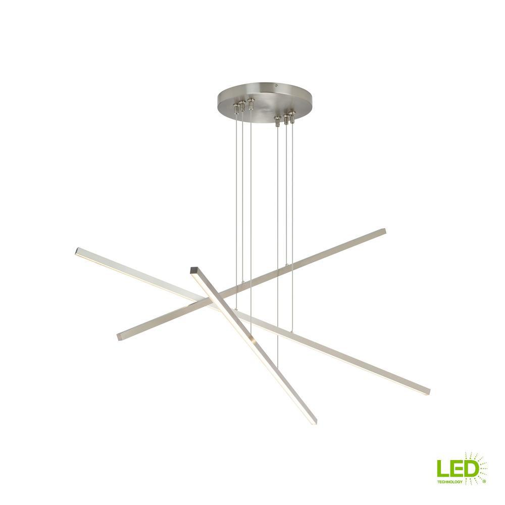 Lbl lighting essence trio linear 60 watt satin nickel integrated led chandelier