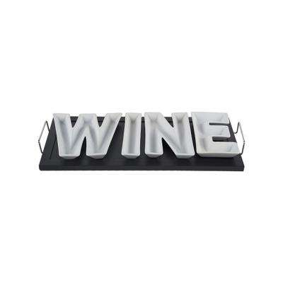 5-Piece Black/White Ceramic 'Wine' on Wood Tray with Stainless Handles