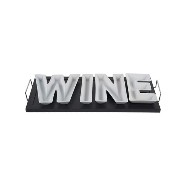 HOME ESSENTIALS & BEYOND 5-Piece Black/White Ceramic 'Wine' on Wood Tray with Stainless Handles